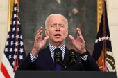 US President Joe Biden makes remarks from the White House after his coronavirus pandemic relief legislation passed in the Senate, in Washington, US. March 6, 2021 [Erin Scott/ Reuters]