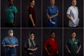 A combination picture of healthcare workers at East Lancashire NHS Trust [Hannah McKay/Reuters]