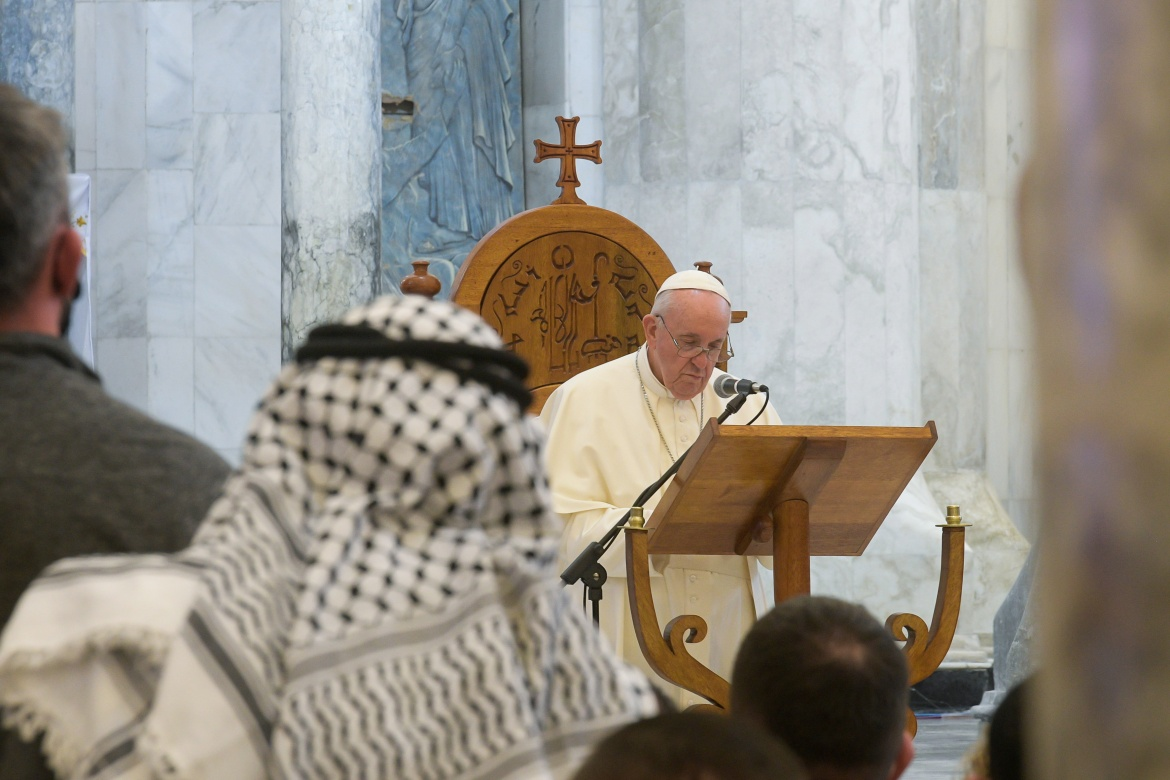 Pope Francis performs mass at Qaraqosh's Grand Immaculate Church. [Handout/Vatican Media via Reuters]