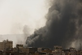 Smoke and dust rise after air strikes launched by the Saudi-led coalition on Sanaa [Khaled Abdullah/Reuters]