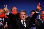 Laporta, 58, held the position previously between 2003 and 2010 [Albert Gea/Reuters]