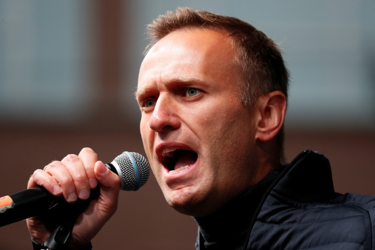Navalny was arrested at the border as he returned to Russia from Germany [File: Shamil Zhumatov/Reuters]