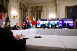 President Joe Biden participated in a video summit with Indo-Pacific nation leaders at the White House [Tom Brenner/Reuters]