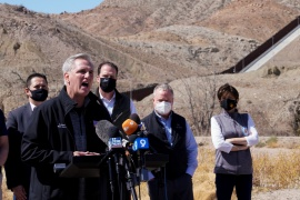 House Minority Leader Kevin McCarthy speaks to the press after a tour by Republican lawmakers of the US-Mexico border, in El Paso, Texas [Paul Ratje