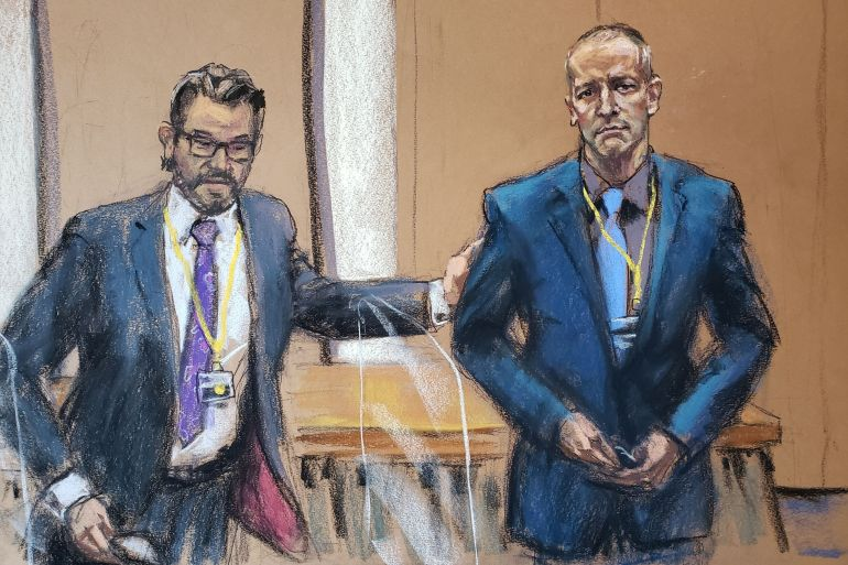 Defence lawyer Eric Nelson introduces Derek Chauvin to potential jurors during jury selection in his trial in Minneapolis, Minnesota on March 15, 2021, in this courtroom sketch from a video feed of the proceedings [File: Jane Rosenberg/Reuters]