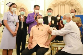 Thailand's Prime Minister Prayuth Chan-ocha receives an injection of the AstraZeneca COVID-19 vaccine at the Government House in Bangkok, Thailand, March 16, 2021 [Thailand Government House/Handout via Reuters]