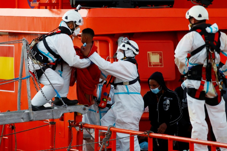 Many of the passengers suffered from severe hypothermia and required hospital care [Borja Suarez/Reuters]