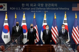 From left: US Secretary of Defense Lloyd Austin, US Secretary of State Blinken, South Korean Foreign Minister Chung Eui-yong and South Korean Minister of Defense Suh Wook pose for the media before the meeting between South Korea and the US in Seoul [Lee Jin-man/Pool via Reuters]