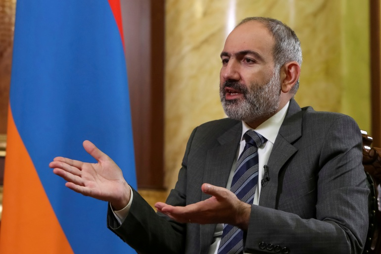 Pashinyan has been under pressure to step down after signing a Russian-brokered peace deal in November which brought to a close six weeks of conflict in Nagorno-Karabakh [File: Hayk Baghdasaryan/Photolure via Reuters]
