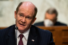 Senator Chris Coons will travel to Ethiopia as President Joe Biden's envoy, a White House official announced [File: Demetrius Freeman/Pool via Reuters]