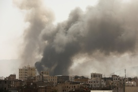 Smoke billows from the site of Saudi Arabia-led air attacks in Sanaa, Yemen March 7, 2021 [File: Khaled Abdullah/Reuters]
