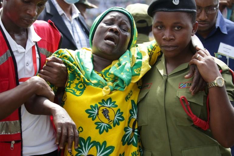 Emotions ran high at the service in Dar es Salaam [Emmanuel Herman/Reuters]