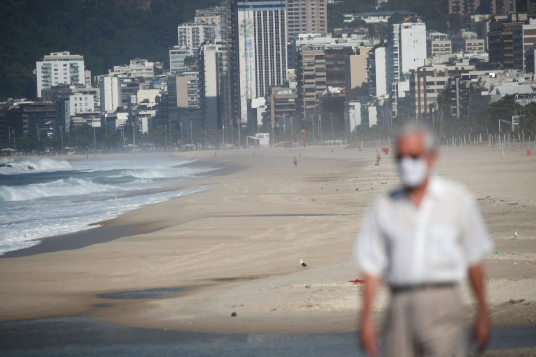 Beaches in Rio de Janeiro were closed on Saturday as a restrictive measure to try to contain surging COVID-19 infections [Ricardo Moraes/Reuters]