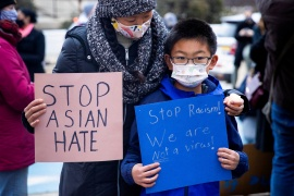 Rallies have taken place across the US in the aftermath of the deadly attacks on Atlanta-area spas, with demonstrators calling for an end to anti-Asian hate [File: Rachel Wisniewski/Reuters]