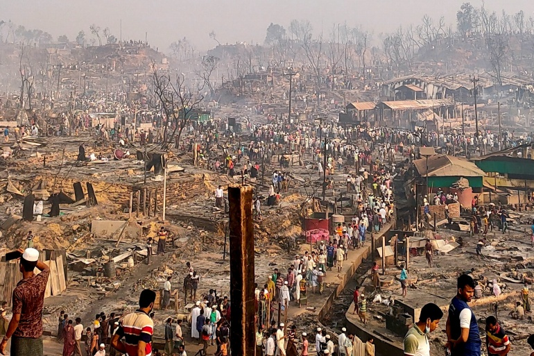 A view of a Rohingya refugee camp after Monday's fire [Ro Yassin Abdumonab/Reuters]