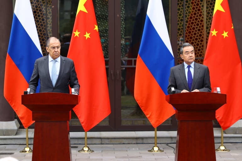 Russian foreign minister Sergey Lavrov, left, and his Chinese counterpart, Wang Yi, pictured in in Guilin [Russian Foreign Ministry/Handout via Reuters]
