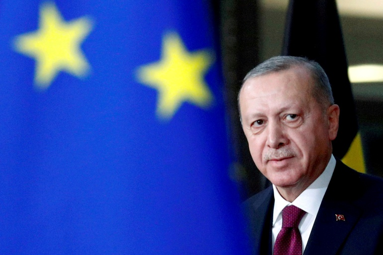 Turkish President Recep Tayyip Erdogan's administration is trying to calm tensions with the European Union over a maritime dispute with EU members Greece and Cyprus [File: Francois Lenoir/Reuters]
