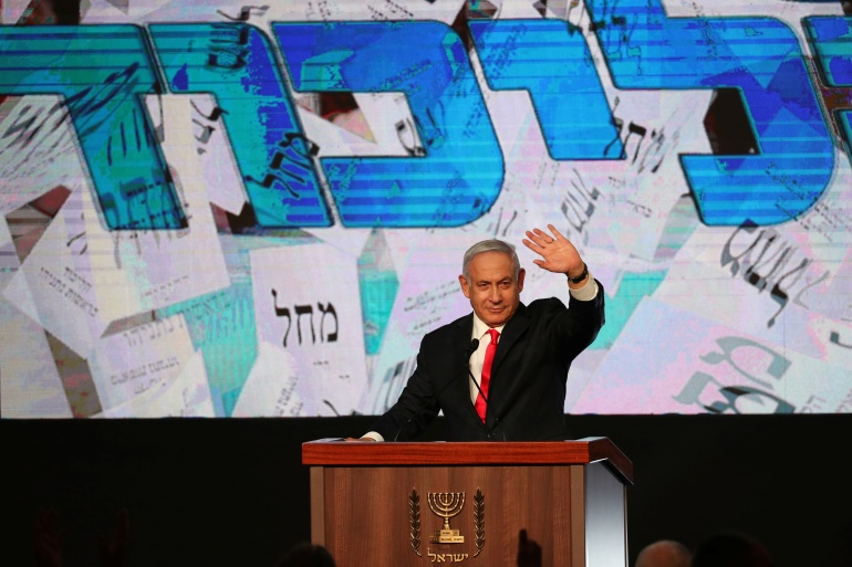 Prime Minister Benjamin Netanyahu's Likud party looks set to lose six seats, falling to 30 in the 120-seat parliament [Ronen Zvulun/Reuters]