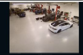 A hacker group says it gained access to 222 cameras in Tesla factories and warehouses, including this facility seen through a Verkada camera [Bloomberg]