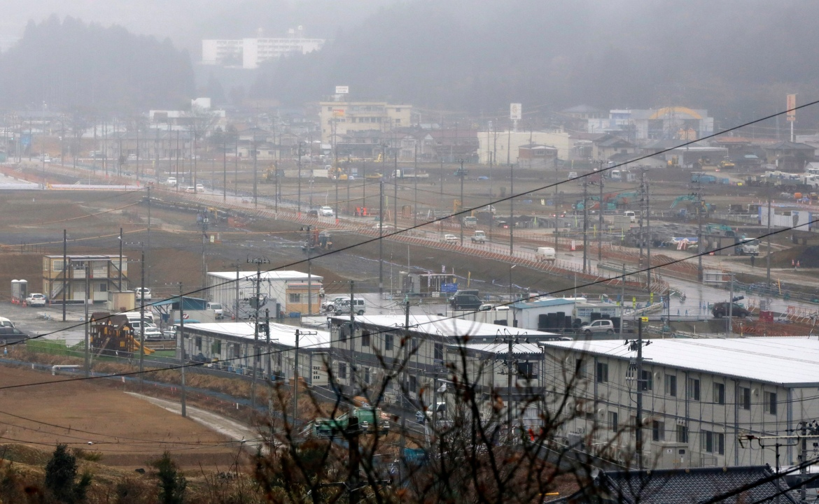 Reconstruction can be seen in the 2011 tsunami-destroyed residential neighbourhood in Kesennuma, Miyagi Prefecture, northeastern Japan, in this March 6, 2016, file photo. [Eugene Hoshiko/AP Photo]