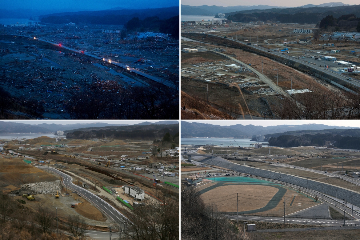In this combination photo, from top left to bottom right, vehicles pass through the ruins of the leveled city of Minamisanriku, Miyagi Prefecture, northern Japan, on March 15, 2011, top, four days after the tsunami, and vehicles pass through the same area under construction on February 23, 2012, on March 7, 2016 and Saturday, March 6, 2021. (AP Photo/David Guttenfelder and Eugene Hoshiko)