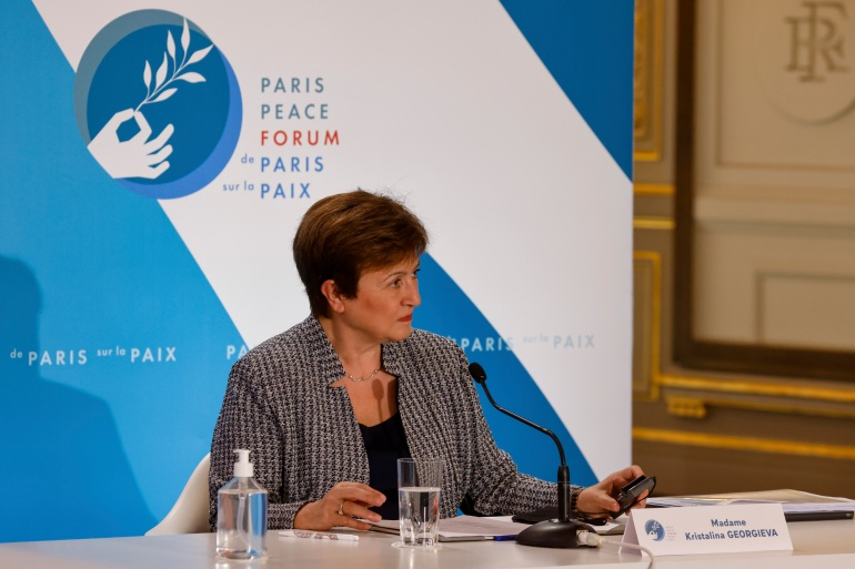 International Monetary Fund Managing Director Kristalina Georgieva said Tuesday that when the IMF releases its updated economic forecast next week, it will show the global economy growing at a faster pace than the 5.5 percent gain it projected at the start of the year [File: Ludovic Marin, Pool via AP]