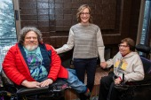 """Co-directors Jim LeBrecht, left, and Nicole Newnham join one of the subjects, Judith Heumann, from the documentary """"Crip Camp"""" to pose for a portrait during the 2020 Sundance Film Festival on Friday, Jan. 24, 2020, in Park City, Utah. (Photo by Charles Sykes/Invision/AP) (AP Photo)"""