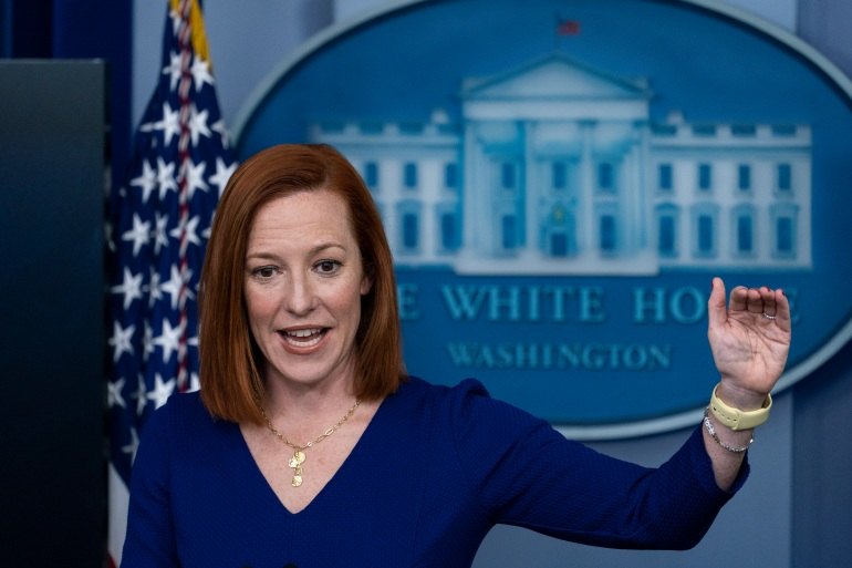 White House Press Secretary Jen Psaki speaks with reporters at the White House in Washington, DC, the United States on March 3, 2021 [Alex Brandon/AP Photo]