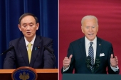 The US and Japan share many of the same grievances concerning China, a key issue as Japanese Prime Minister Yoshihide Suga, left, and US President Joe Biden meet [File: AP Photo]