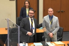 Eric Nelson and former Minneapolis police officer Derek Chauvin, introduce themselves to jurors as Hennepin County Judge Peter Cahill presides over jury selection on March 17, 2021 [File: Court TV/Pool via AP Photo]