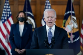 President Joe Biden speaks after meeting with leaders from Georgia's Asian-American and Pacific Islander community, Friday, March 19, 2021, at Emory University in Atlanta, as Vice President Kamala Harris listens [Patrick Semansky/AP Photo]