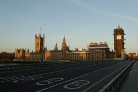 March 24, 2020: An almost empty Westminster Bridge stands backdropped by the early morning sun on the scaffolded Houses of Parliament and the Elizabeth Tower, known as Big Ben, on the first day of Britain's first lockdown to try to fight the spread of coronavirus, in London. [Matt Dunham/AP Photo]