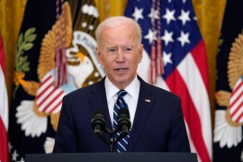 President Joe Biden speaks during his first news conference in the East Room of the White House [Evan Vucci/AP Photo]