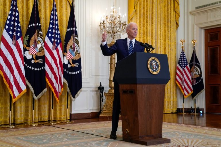 Biden said the US remained open to diplomacy with North Korea despite the tests, but warned there would be responses if Pyongyang escalates matters [Evan Vucci/AP Photo]