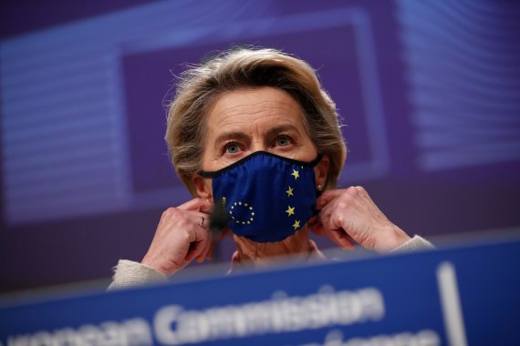 European Commission chief Ursula von der Leyen said on Friday that she and United States President Joe Biden agreed to suspend all tariffs imposed in the context of the Airbus-Boeing disputes, both on aircraft and non-aircraft products, for at least four months [File: Francisco Seco/AP Photo]