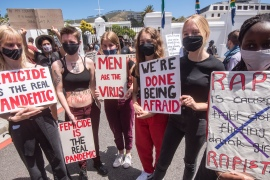 South African women take part in a protest against gender-based violence on November 28, 2020 in Cape Town, South Africa. [Brenton Geach/Gallo Images via Getty Images]