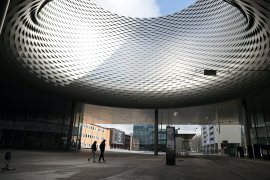 The Herzog & de Meuron building usually hosts Art Basel - one of the world's biggest art fairs - in June, but last year's event was cancelled due to the pandemic and this year's has been postponed until September [File: Arnd Wiegmann/Reuters]