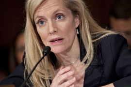 US Federal Reserve Governor Lael Brainard said in a Tuesday speech that the new Financial Stability Climate Committee will be 'charged with developing and implementing a programme to assess and address climate-related risks to financial stability' [File: Andrew Harrer/Bloomberg]