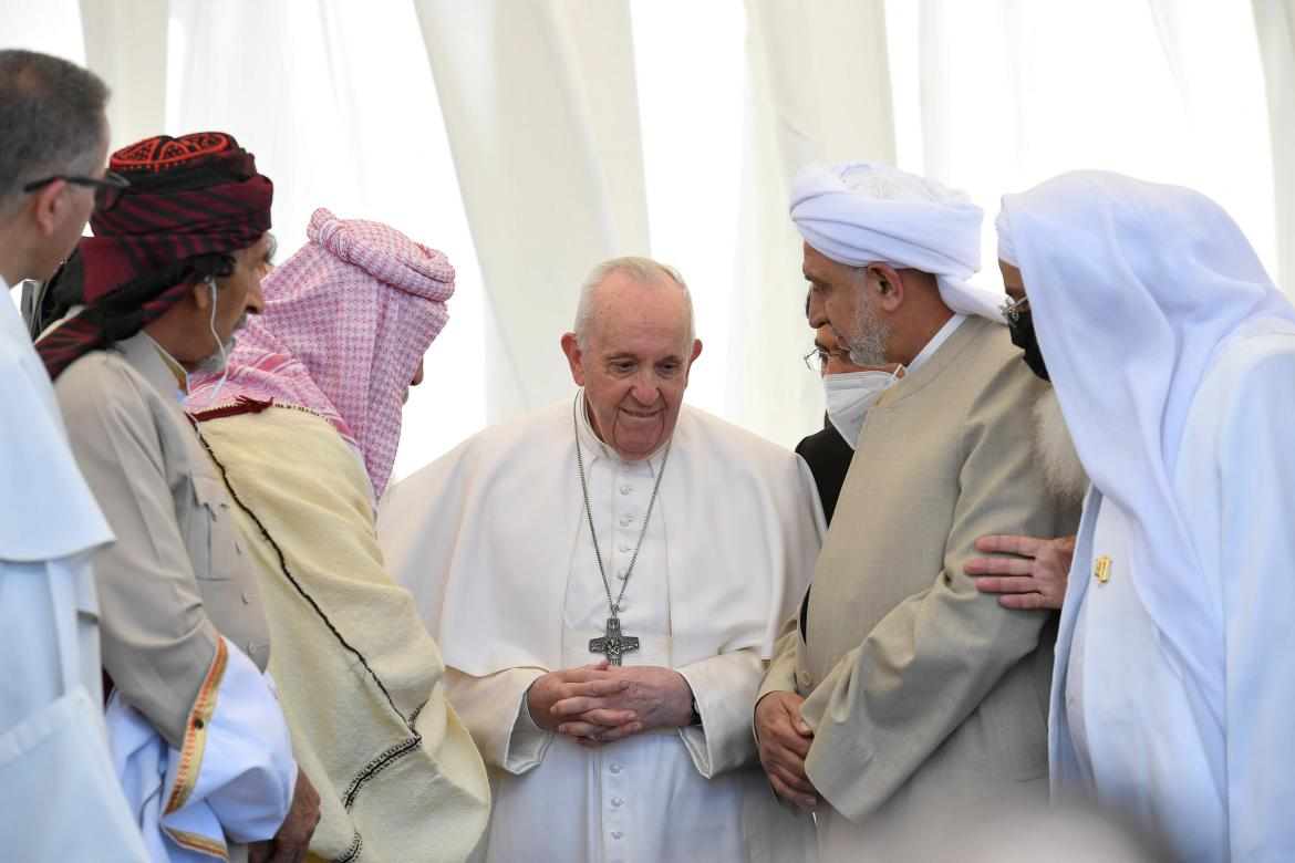 Pope Francis speaks to Iraqi religious figures during an interfaith service in the ancient city of Ur in southern Iraq's Dhi Qar province, Nasiriya. [Handout/Vatican Media via EPA]