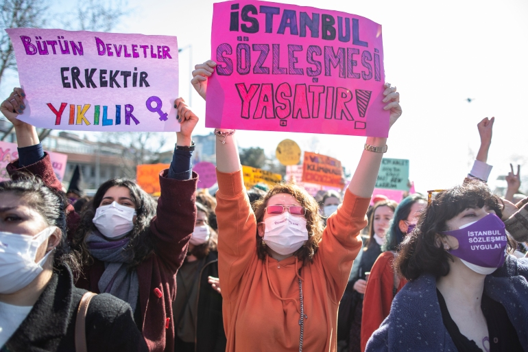 Women shout slogans during a demonstration against Turkey's decision to withdraw from the Istanbul Convention [Erdem Sahin/EPA-EFE]
