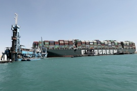Stranded ship Ever Given, one of the world's largest container ships, is seen after it ran aground in the Suez Canal [EPA]