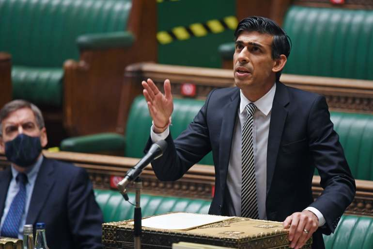 In an annual budget speech on Wednesday, United Kingdom Chancellor of the Exchequer Rishi Sunak said the economy should regain its pre-pandemic size by mid-2022 [File: Jessica Taylor/Reuters]
