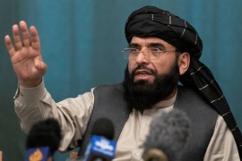 Suhail Shaheen, a member of the Taliban's negotiation team, speaks during a news conference in Moscow on Friday [Alexander Zemlianichenko via Reuters]