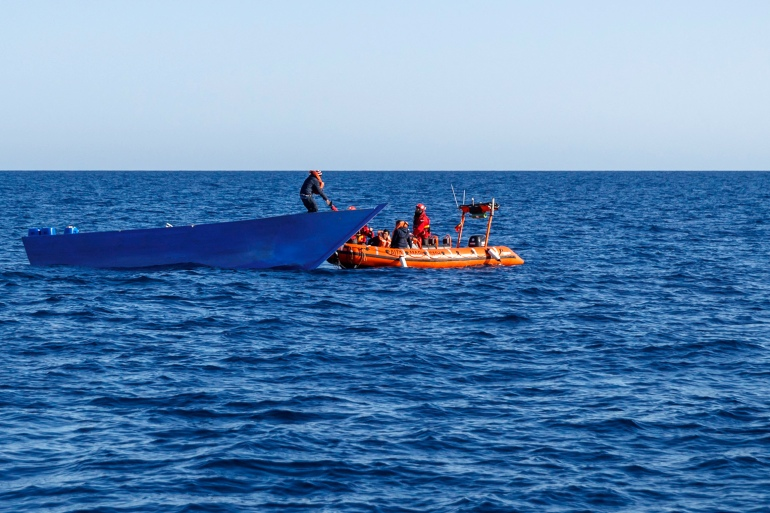 Twelve people on the shipwrecked dinghy were rescued by the Libyan coastguard near the town of Zawiya [File: Pablo Garcia/AFP]