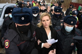 Anastasia Vasilyeva was arrested after authorities had earlier stepped up security at the facility in the town of Pokrov in anticipation of Tuesday's rally [Kirill Kudryavtsev/AFP]