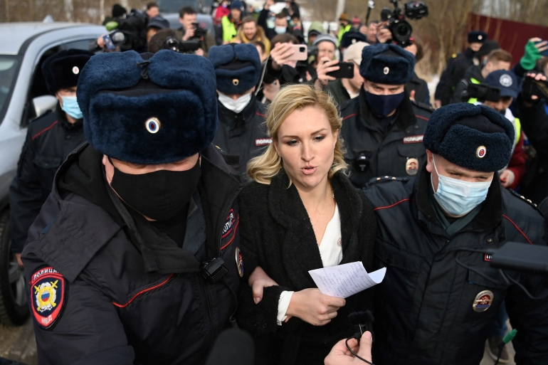 Anastasia Vasilyevawas arrested after authorities had earlier stepped up security at the facility in the town of Pokrov in anticipation of Tuesday's rally [Kirill Kudryavtsev/AFP]