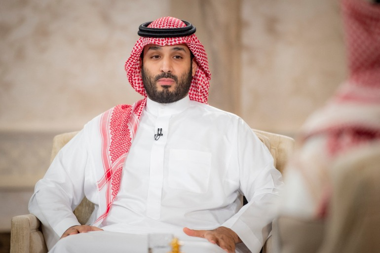 Saudi Crown Prince Mohammed bin Salman during an interview in the capital Riyadh to mark the fifth anniversary of his Vision 2030 [Handout via AFP]
