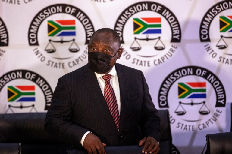 South African President Cyril Ramaphosa appears on behalf of the governing party African National Congress at the Zondo Commission of Inquiry in Johannesburg, South Africa [Themba Hadebe/AFP]