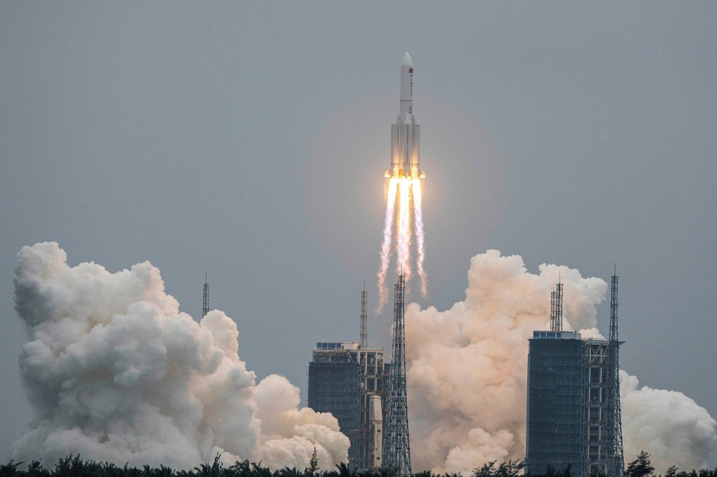 A Long March 5B rocket carrying China's Tianhe space station core module lifts off from the Wenchang Space Launch Centre in southern China's Hainan province on Thursday