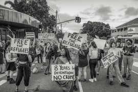 Activists in Brisbane have been campaigning for the release of men held at Kangaroo Point immigration centre, a makeshift holding centre for refugees and migrants who came from island detention centres for medical attention [Lux Adams/Al Jazeera]